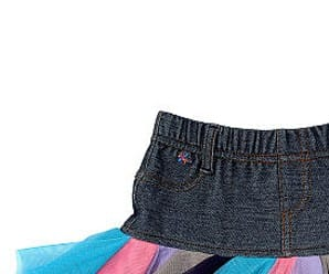 Truly Scrumptious Toddler Girls' Denim Skirt with Multi Color Netting